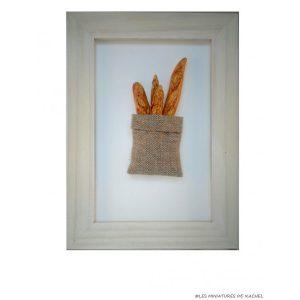 Cadre avec sac à pain en pâte Fimo